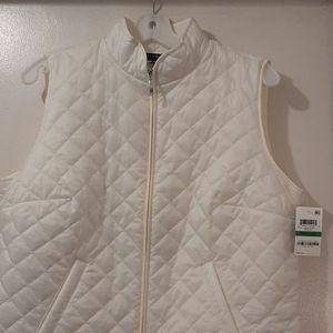 KAREN SCOTT SPORT PETITES NWT cream vest PL